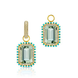 18KT Yellow Gold Green Amethyst Turquoise Diamond Portofino Charm Earrings