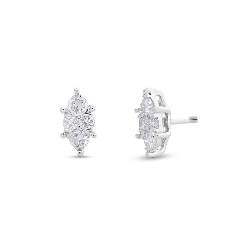 14KT White Gold Diamond Marquis Maisie Stud Earrings