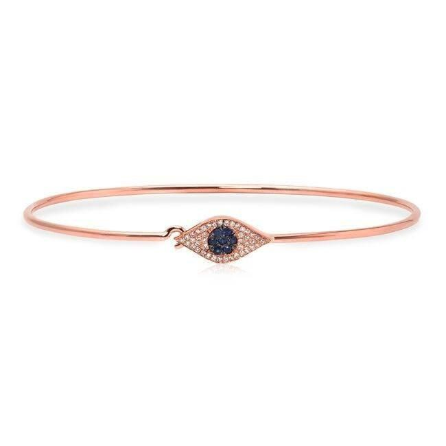 14KT Rose Gold Sapphire And Diamond Evil Eye Latch Bracelet