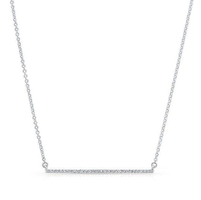 14KT White Gold Diamond Thin Bar Necklace