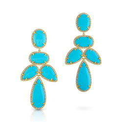 14KT Yellow Gold Turquoise Diamond Bellissima Earrings