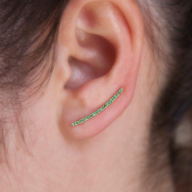 14KT Yellow Gold Emerald Crescent Ear Climber