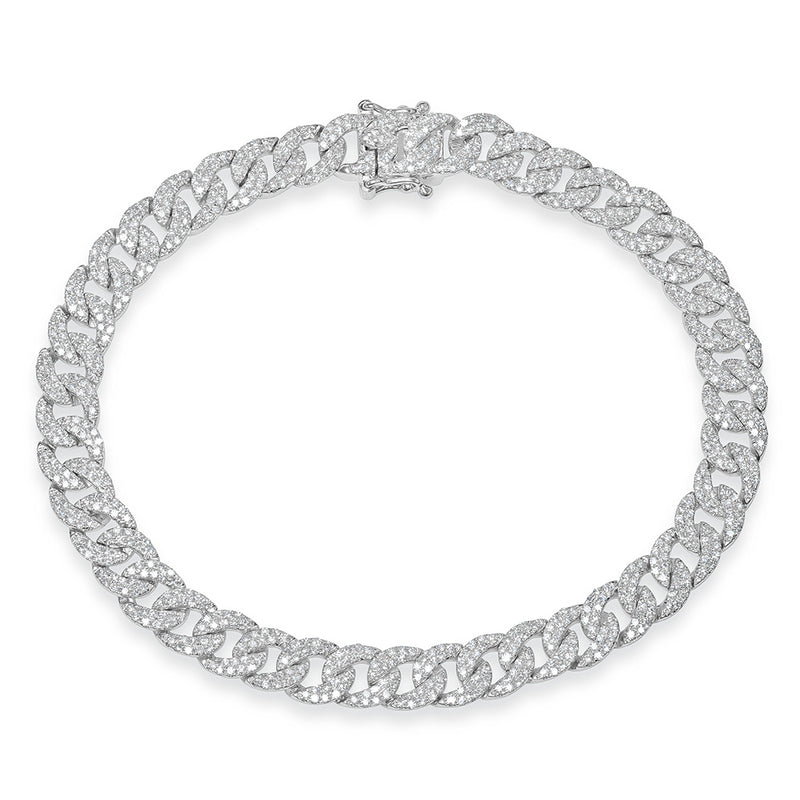 14KT White Gold Diamond Cameron Chain Link Bracelet