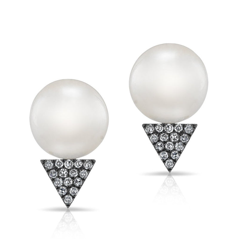 14KT White Gold Oxidized Pearl Diamond Triangle Stud Earrings