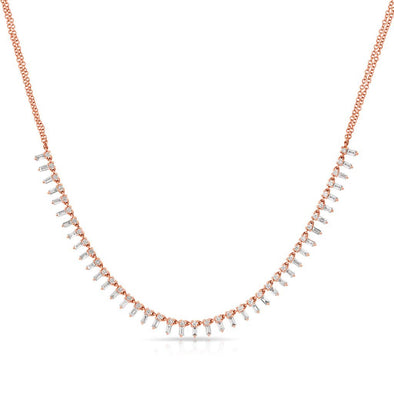 14KT Rose Gold Baguette Diamond Queen Necklace