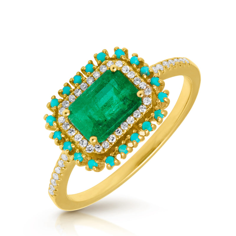 14KT Yellow Gold Emerald Turquoise Diamond Ring