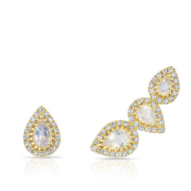 14KT Yellow Gold Diamond Moonstone Stud and Climber Set Valis Earrings