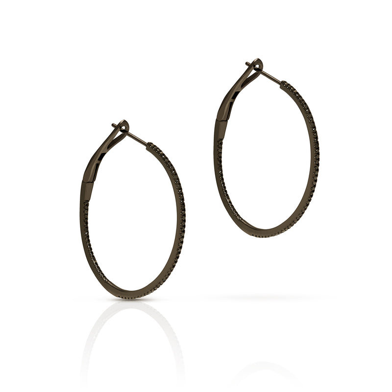 "14KT Black Gold Black Diamond 1.25"" Hoop Earrings"
