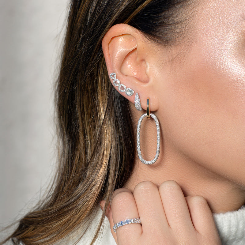 14KT White Gold Diamond Slice Ear Climber