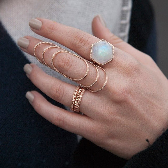 14KT Rose Gold Moonstone Diamond Hexagon Cocktail Ring worn on hand