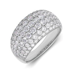 14KT White Gold Diamond Dome Ring
