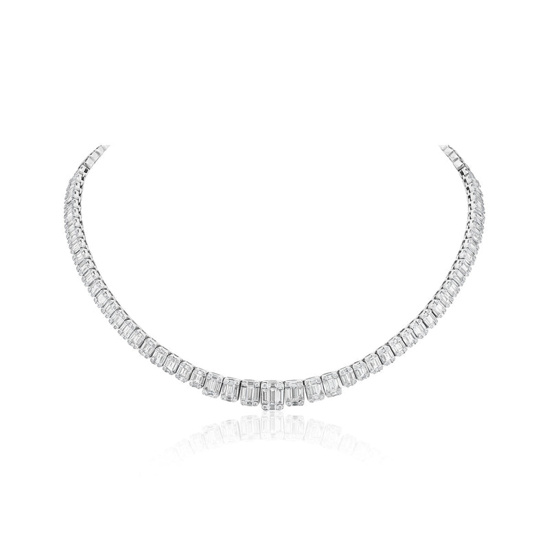 18KT White Gold Baguette Diamond Angelina Necklace