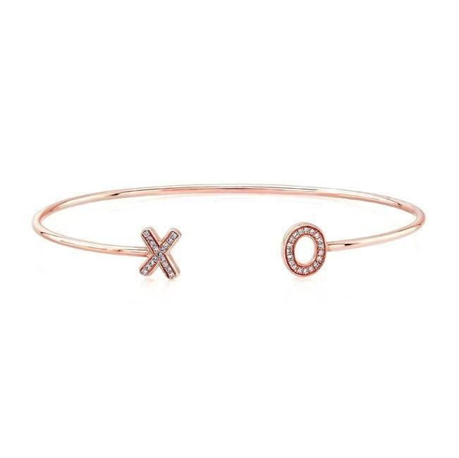 14KT Rose Gold Diamond XO Cuff
