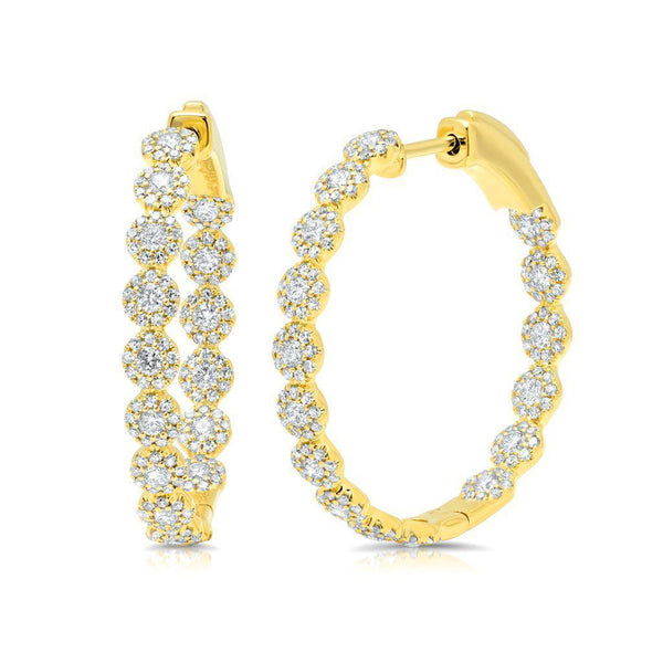 "14KT Yellow Gold Diamond Ellie 1.15"" Hoops"