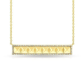 14KT Yellow Gold Diamond Pyramid Bar Necklace