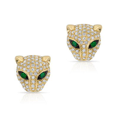 14KT Yellow Gold Diamond Emerald Jaguar Stud Earrings