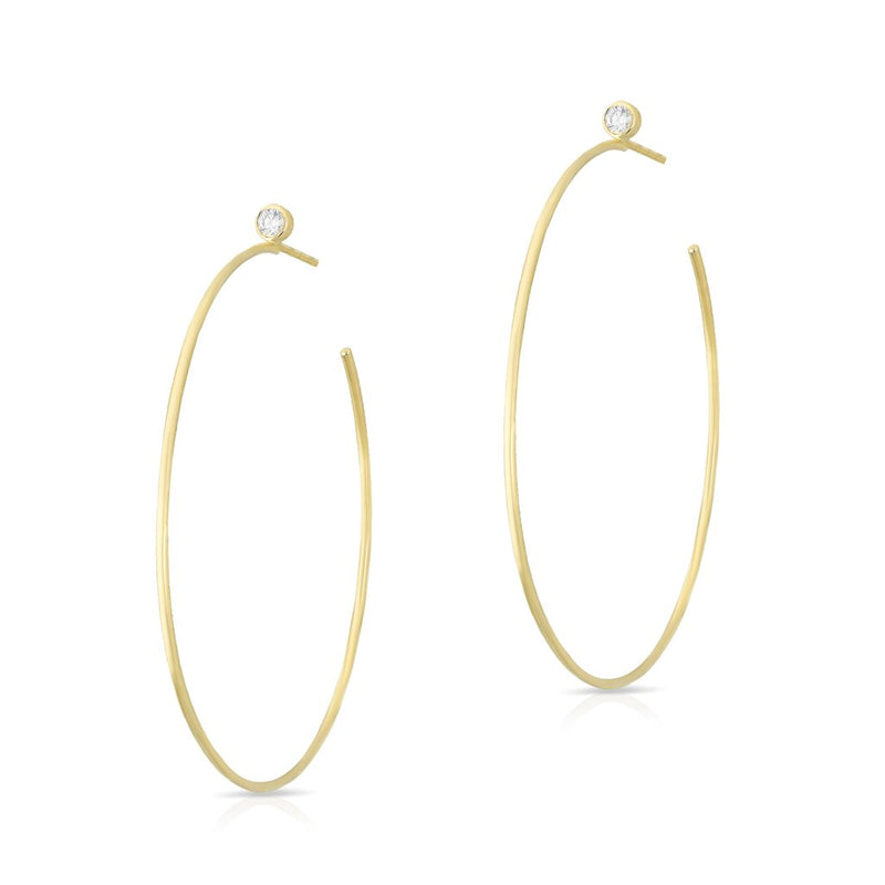 14KT Yellow Gold Diamond Justine Hoop Earrings