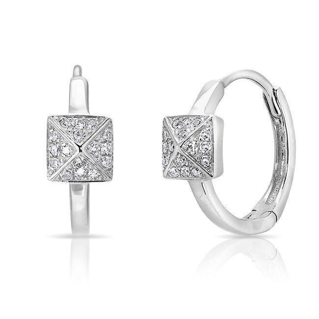 14KT White Gold Diamond Pyramid Huggie Earrings