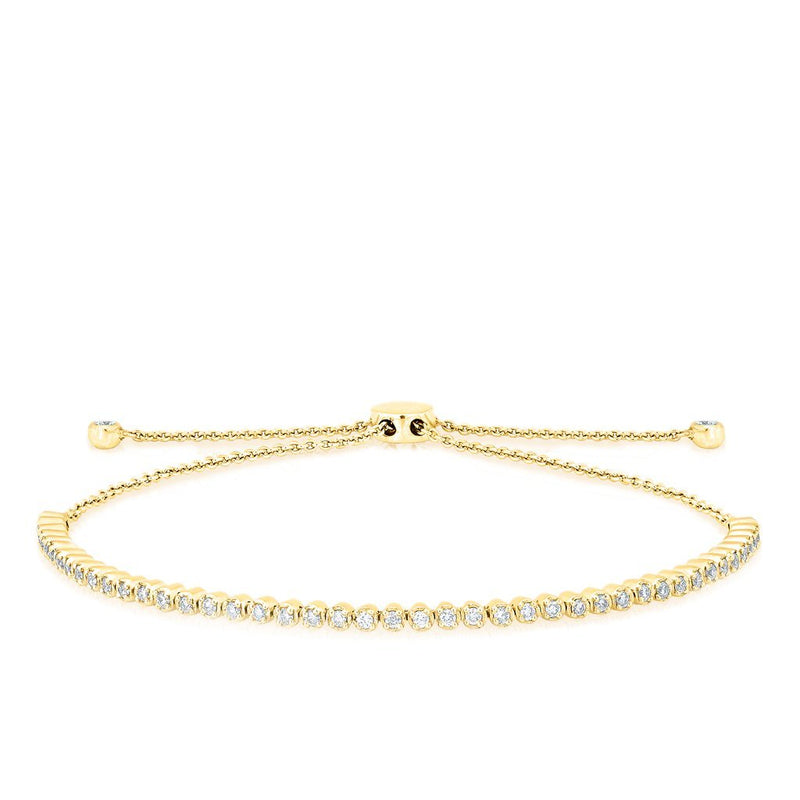 14KT Yellow Gold Diamond Brittany Tennis Tie Up Bracelet