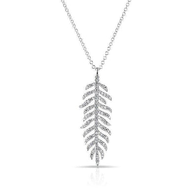 14KT White Gold Diamond Palm Necklace