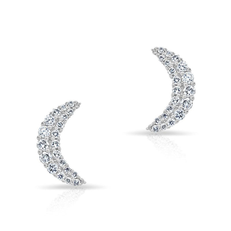 14KT White Gold Diamond Crescent Moon Stud Earrings