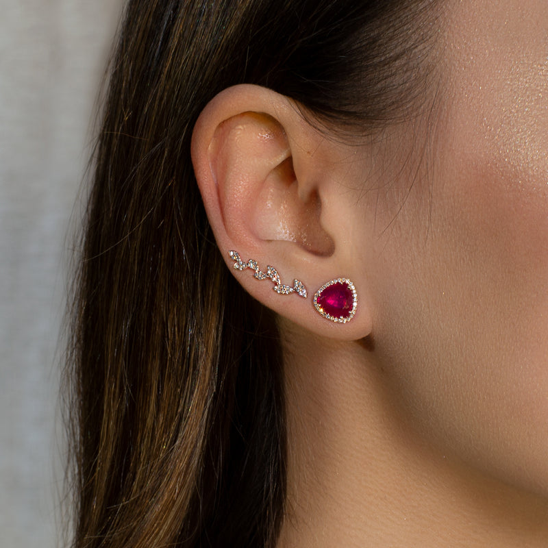 14KT White Gold Rounded Triangle Ruby Diamond Earrings-Anne Sisteron