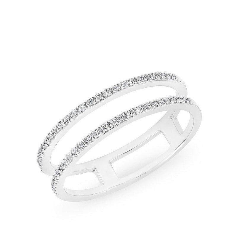 14KT White Gold Diamond Double Bar Band Ring