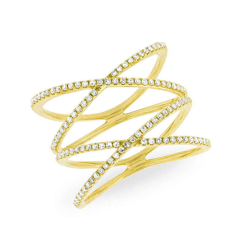 14KT Yellow Gold Diamond Double X Ring