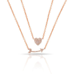 14KT Rose Gold Diamond Cupid's Bow Necklace
