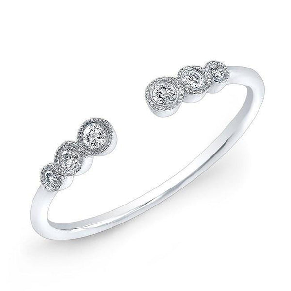 14KT White Gold Open Bezel Set Diamond Ring