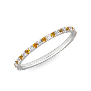 diamond and yellow sapphire eternity band ring