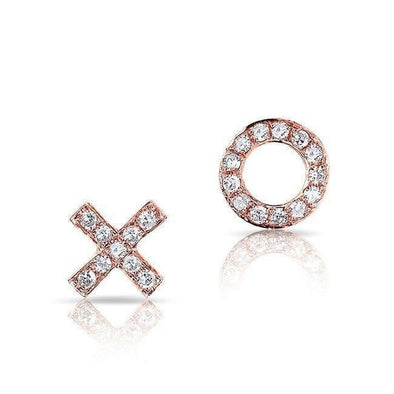 14KT Rose Gold Diamond Mini XO Stud Earrings