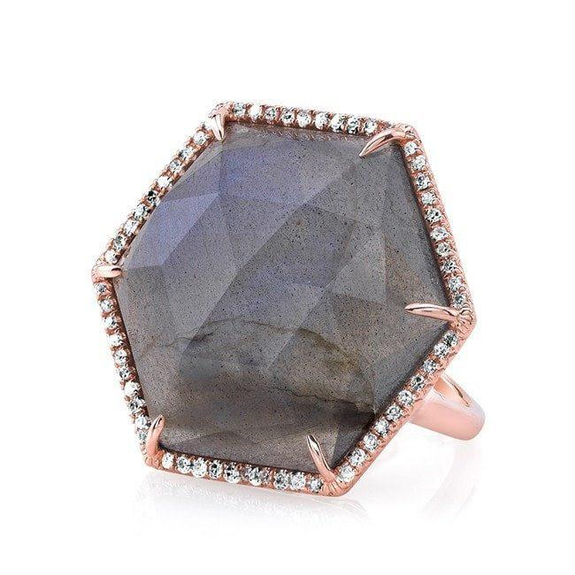 14KT Rose Gold Labradorite Diamond Hexagon Cocktail Ring