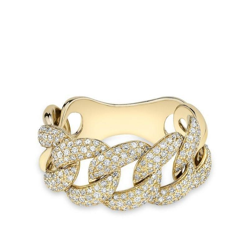 14KT Yellow Gold Luxe Light Diamond Chain Link Ring