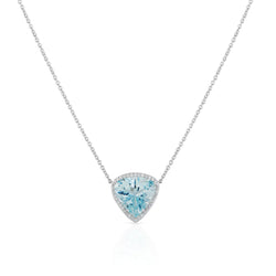18KT White Gold Aquamarine Diamond Amara Necklace