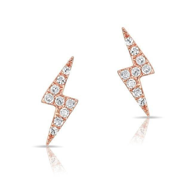 14KT Rose Gold Diamond Lightning Bolt Stud Earrings
