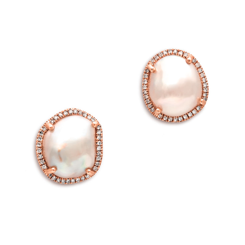 14KT Rose Gold Diamond and Pearl Earrings