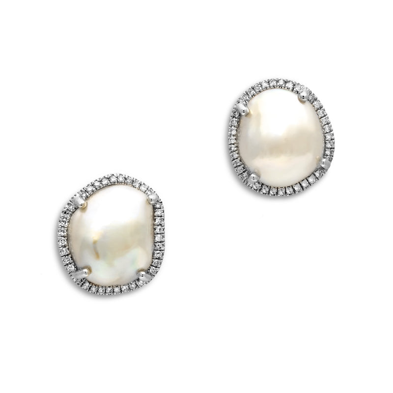 14KT White Gold Diamond and Pearl Earrings