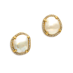 14KT Yellow Gold Diamond and Pearl Earrings