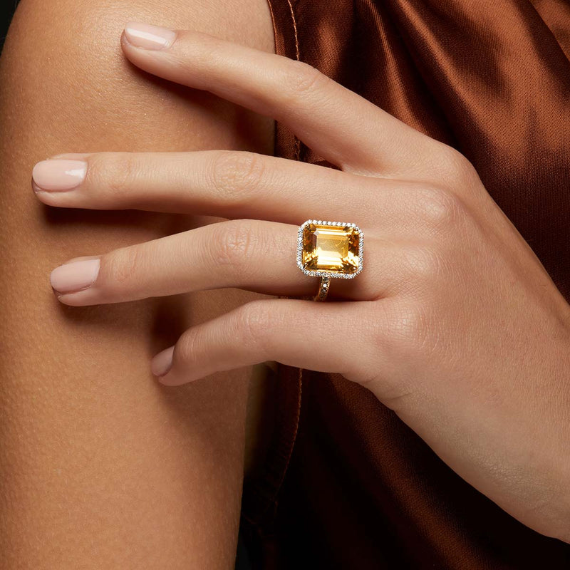 18KT Yellow Gold Citrine Diamond Imani Ring