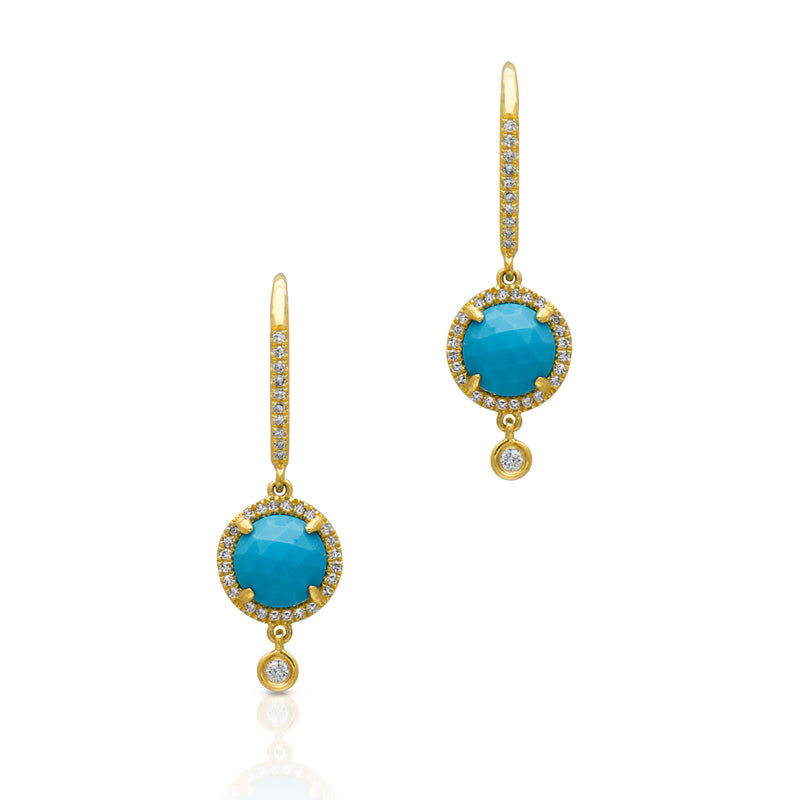 14KT Yellow Gold Diamond Turquoise Kennedy Wireback Earrings