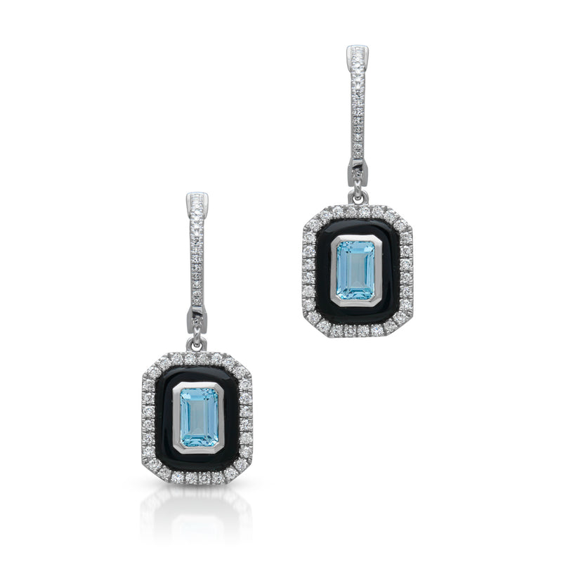 14KT White Gold Onyx Sky Topaz Diamond Earrings