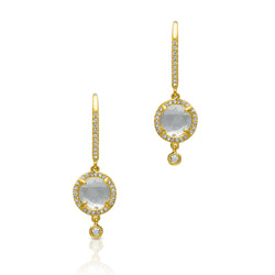 14KT Yellow Gold Diamond White Topaz Kennedy Wireback Earrings