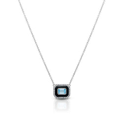 14KT White Gold Onyx Sky Topaz Diamond Necklace