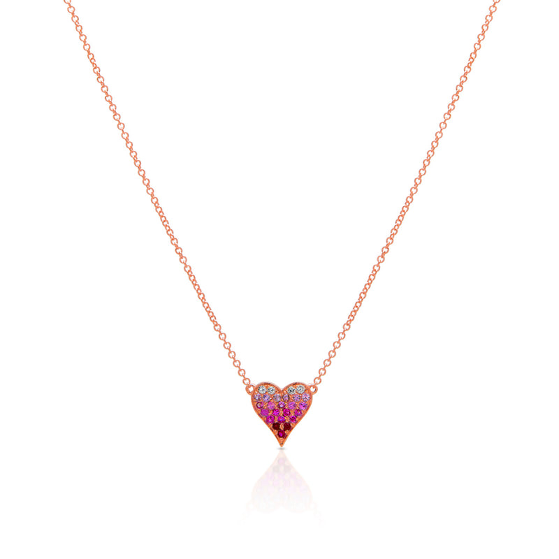 14KT Rose Gold Pink Sapphire Diamond Ombre Small Heart Necklace