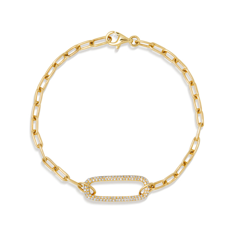 14KT Yellow Gold Diamond Chain Link Maeve Bracelet