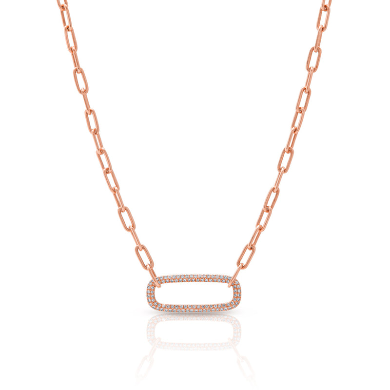 14KT Rose Gold Diamond Chain Link Maeve Necklace