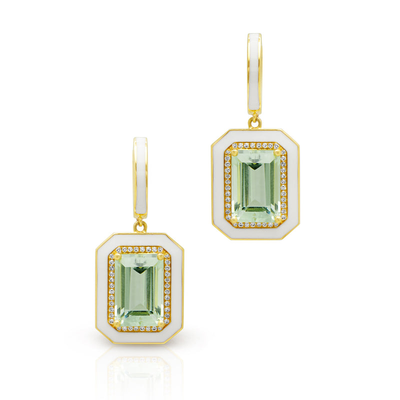 14KT Yellow Gold Green Amethyst Enamel Diamond Deco Earrings