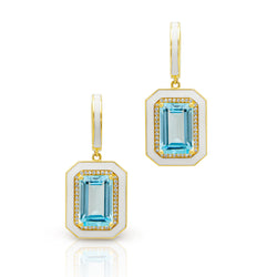 14KT Yellow Gold Blue Topaz Enamel Diamond Deco Earrings