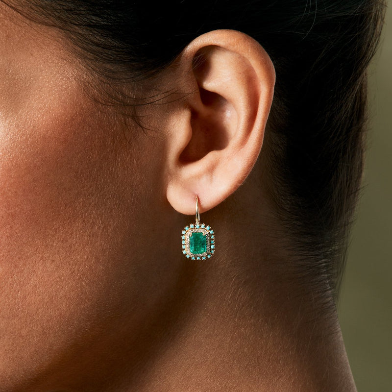 14KT Yellow Gold Emerald Turquoise Diamond Wireback Earrings